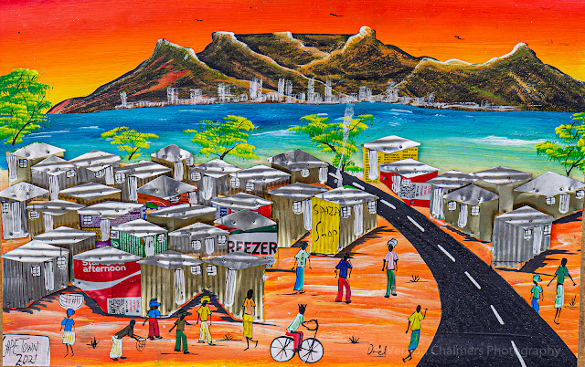 Table Mountain & Township - Hout Bay Harbour African Art & Textiles - For Joseph Inns Image Copyright Vernon Chalmers