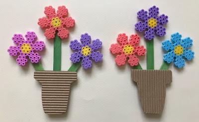 Hama bead flower bouquet craft for children