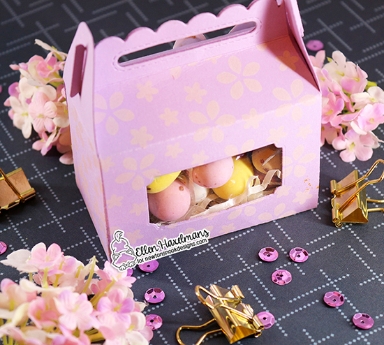 Treat Box by Ellen Haxelmans | Petite Flowers Stencil and Framework Die Set by Newton's Nook Designs #newtonsnook #handmade
