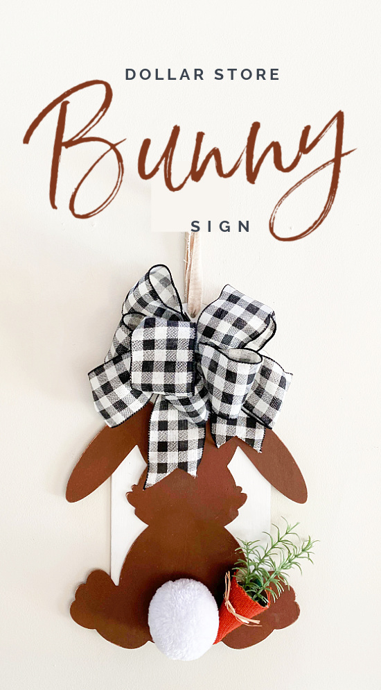 Bunny with bow and Pinterest overlay