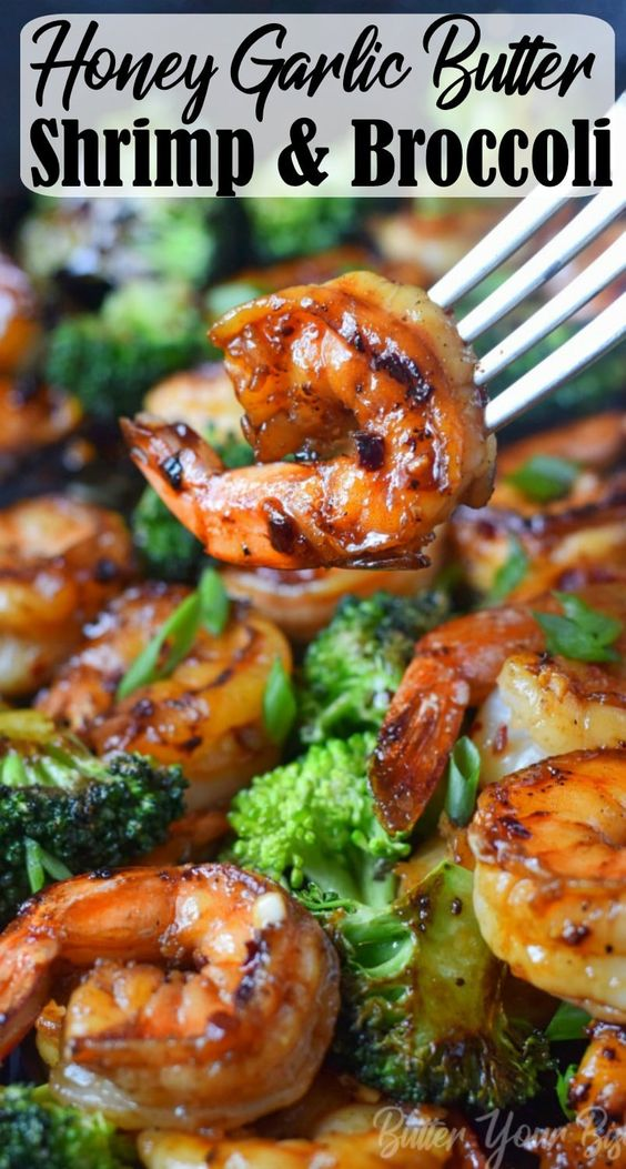 HONEY GARLIC BUTTER SHRIMP & BROCCOLI RECIPE