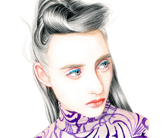 Illustration by Lidia Luna: Dries Van Noten Spring Summer 2016 - Beauty Look