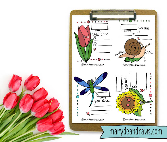 free valentine's day printable love cards from Marydean Draws