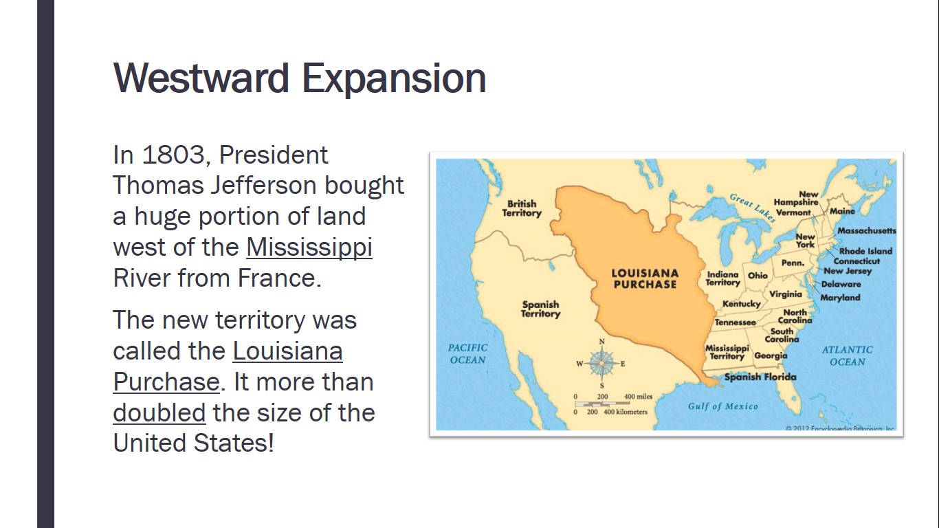 Map Of The United States During Westward Expansion The