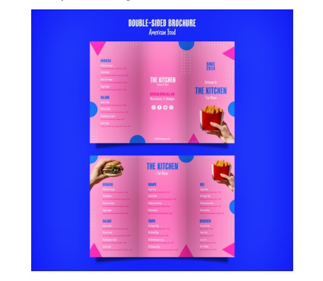 Template menu makanan American Food