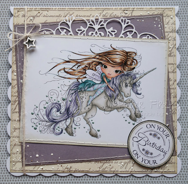 Handmade card with fairy and unicorn (image from Polka Doodles)