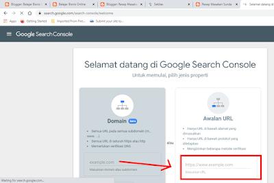 Masukan Alamat URL Blog di Google Search Console