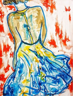Modern Abstract Art of a Lady on a Walk | Artmiabo