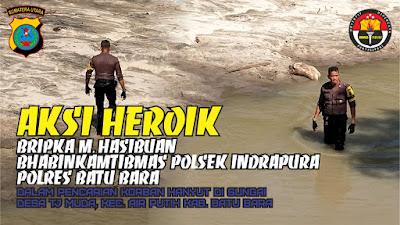 Bhabinkamtibmas Polsek Indrapura dan Koramil 02/AP Melakukan Pencarian Korban Tenggelam