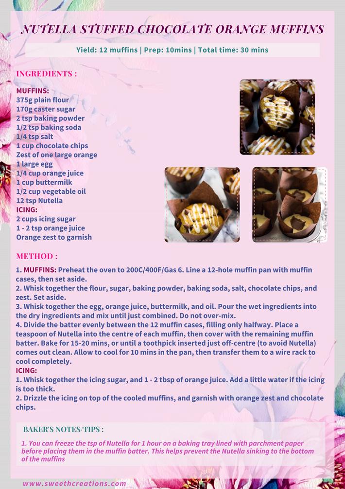 NUTELLA STUFFED CHOCOLATE ORANGE MUFFINS RECIPE