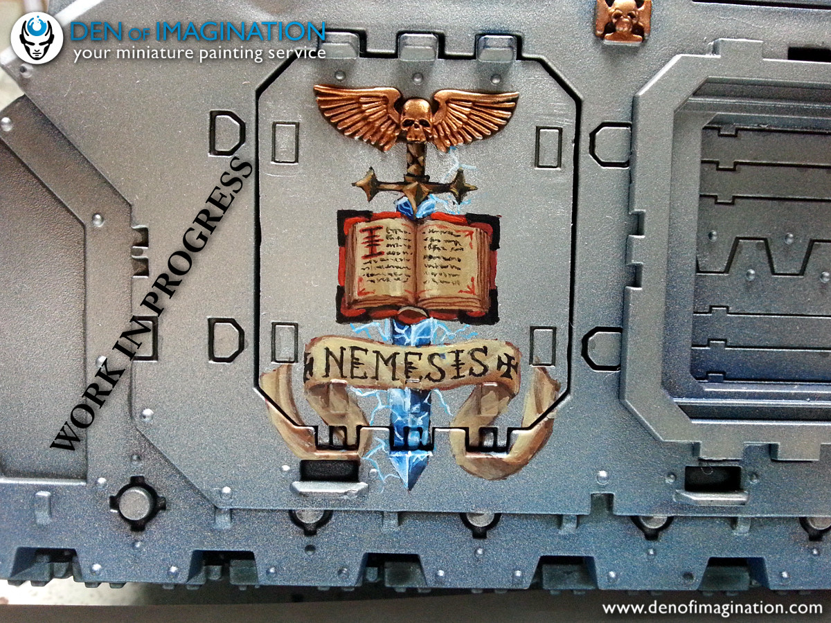 72c8005481 Sooo... she is working on a Grey Knights Land Raider Redeemer and is  finishing the freehand on the side. On the other one there will be a Grey  Knight ...