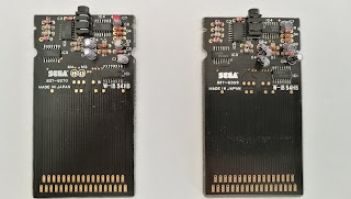 The internals of the 3D adaptors. The Master System is on the left