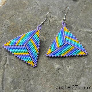 купить треугольные серьги из бисера интернет магазин украшения этно