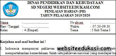 Soal PH / UH Kelas 4 Tema 5 Subtema 3 K13