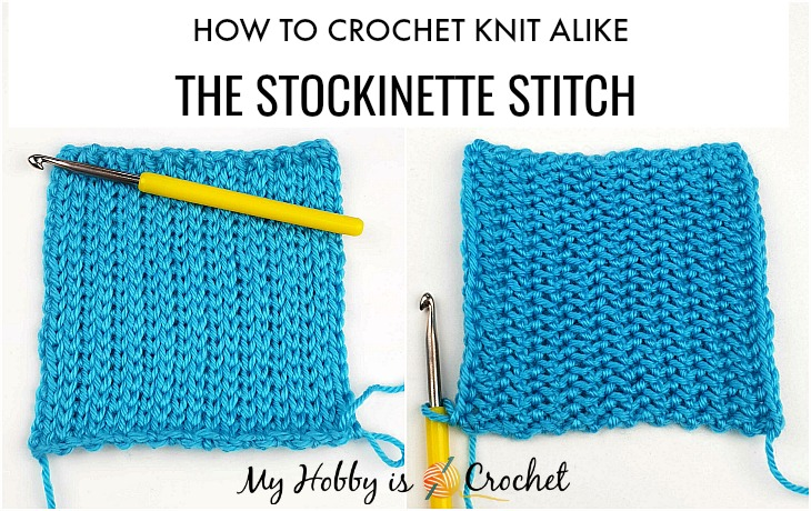 How to CROCHET: Knit Look Stockinette Stitch in Rows with the Yarn Over Slip Stitch