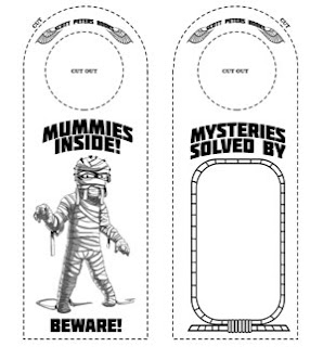 door hanger, kids free printable ancient Egypt mummy activity