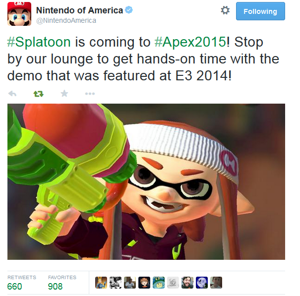 Nintendo of America announces Splatoon E3 2014 demo coming to Apex 2015 tournament
