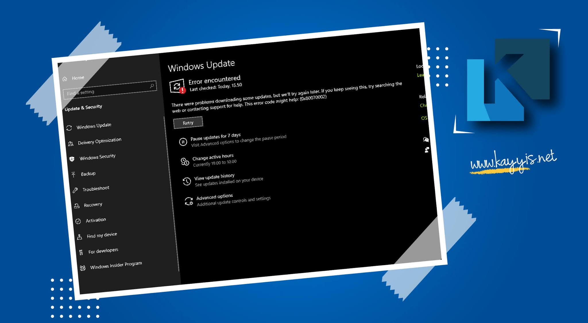 Mengatasi Error Update Windows 10 Error Code 0x80070002