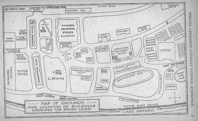 Canadian National Exhibition: Map of Grounds with Location of Buildings Looking up from Lake, 1921
