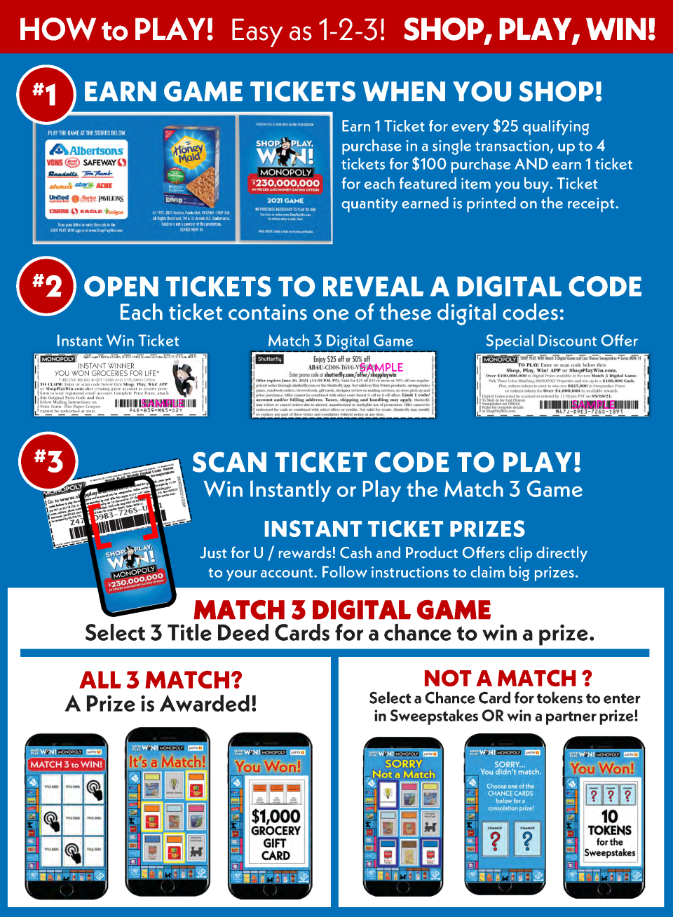 How to play #GoShopPlayWin Monopoly Game at Albertson's