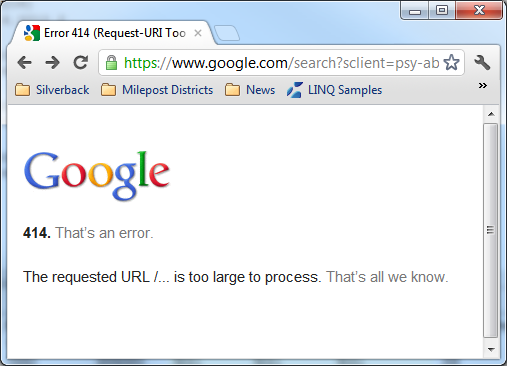 Computer Fail by Jane: Google 414 error - too long of a search string