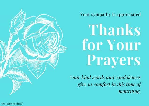 thank you for your prayers condolences messages