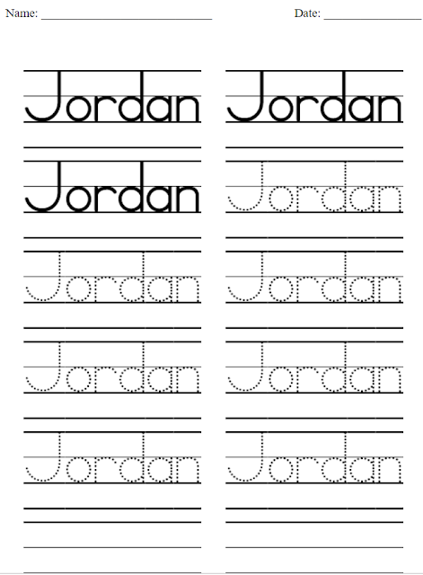 We like this version for early kindergarten or preschool as learners can easily focus on their names.