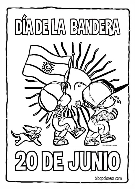 colorear Día de la bandera argentina