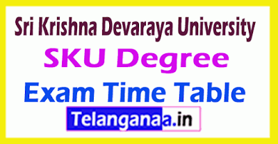 Sri Krishna Devaraya University SKU Degree Exam Time Table
