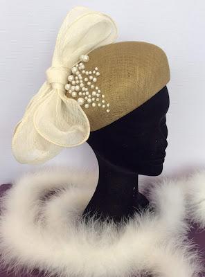 Patouche Chapeaux bibi mariée cérémonie sisal et perles