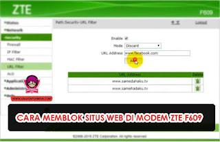 Cara Memblokir Situs Web di Modem Zte F609 Terbaru