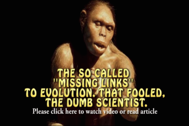 MISSING LINKS TO EVOLUTION,  ANNOUNCED ON TV NEWS,  TO ALL BE HOAXES.