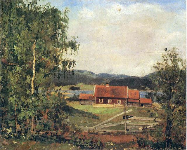 Эдвард Мунк - Пейзаж. Маридален близ Осло. 1881