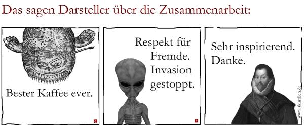 Statement, Parodie, Stellungnahme, Seeungeheuer, Alien, Außerirdischer, Pirat, Francis Drake, Collage, Satire