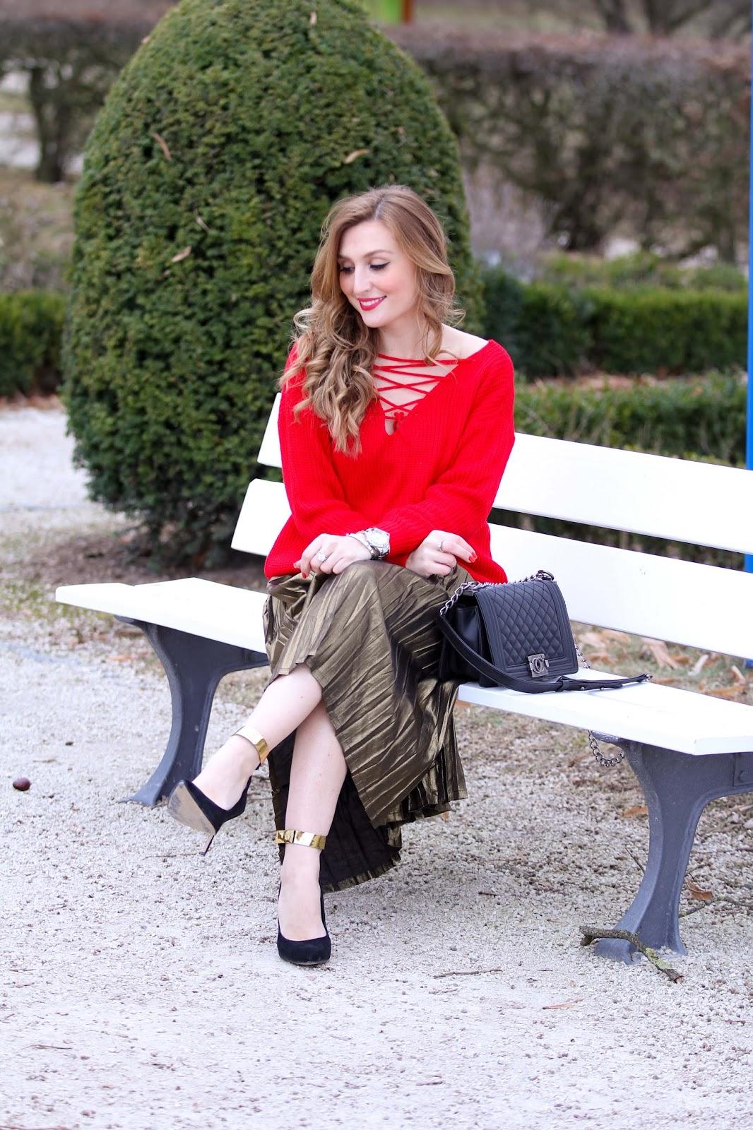 Geflochtener Roter Wollpullover Fashionstylebyjohanna