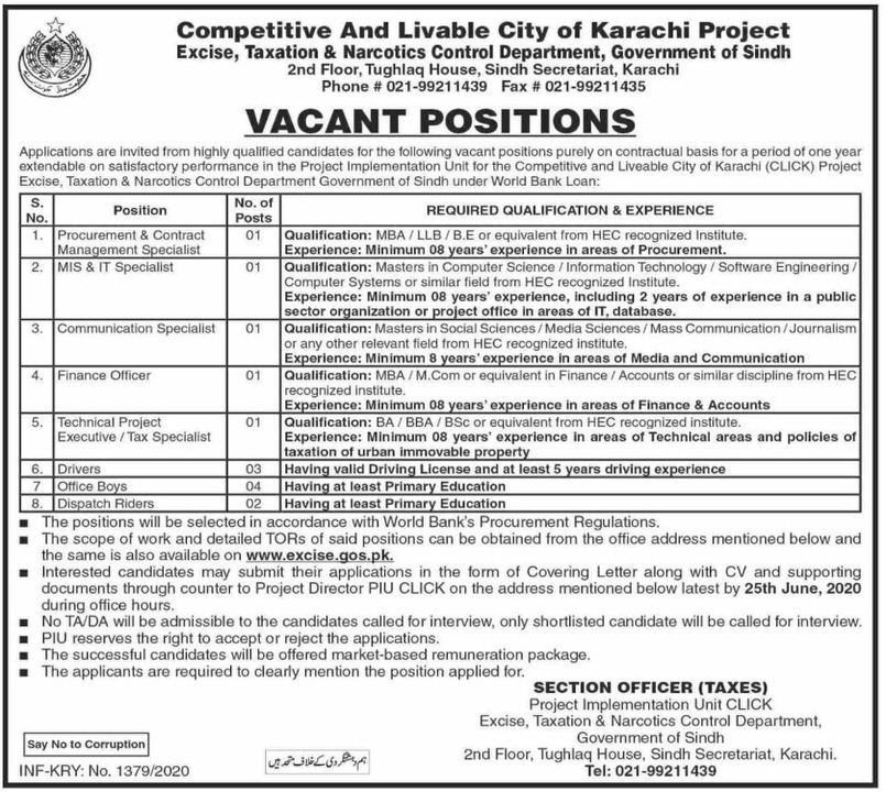 Excise Taxation and Narcotics Control Department Karachi Jobs