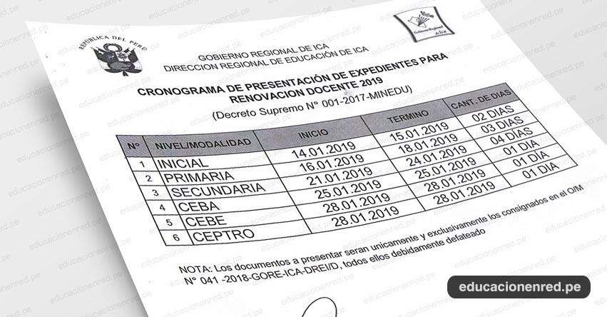 CRONOGRAMA: Contrato Docente 2019 en la DRE Ica - www.dreica.gob.pe