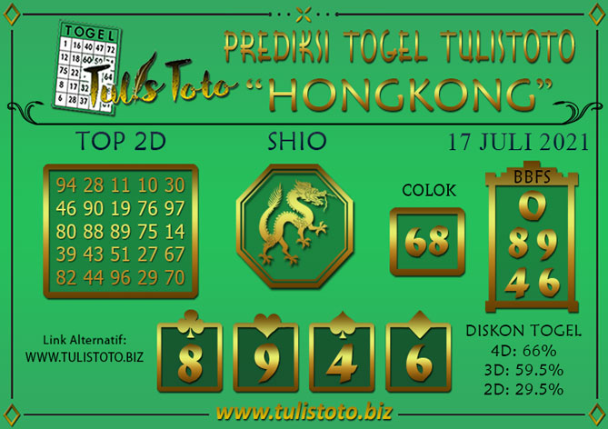 Prediksi Togel HONGKONG TULISTOTO 17 JULI 2021