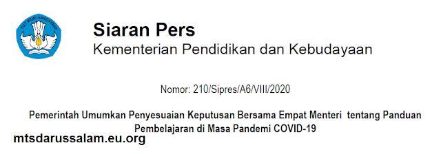 Siaran Pers Kemdikbud Nomor : 210/Sipres/A6/VIII/2020 Tentang Pemerintah Umumkan Penyesuaian Keputusan Bersama Empat Menteri tentang Panduan Pembelajaran di Masa Pandemi COVID-19