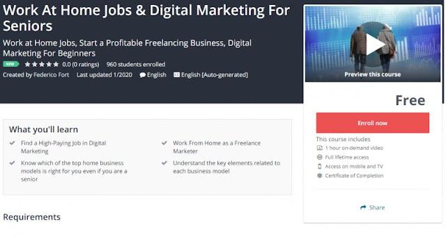 [100% Free] Work At Home Jobs & Digital Marketing For Seniors