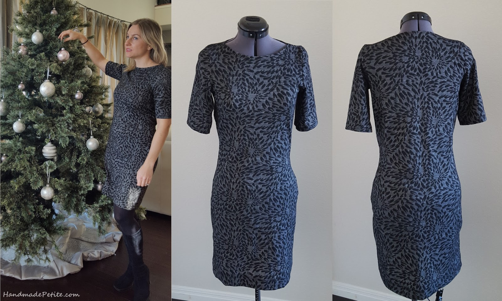 Quick sewing project black and gray knit jacquard dress from tshirt pattern. Side, front and back views