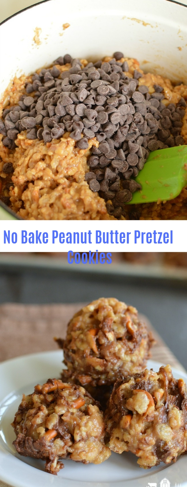 No Bake Peanut Butter Pretzel Cookies