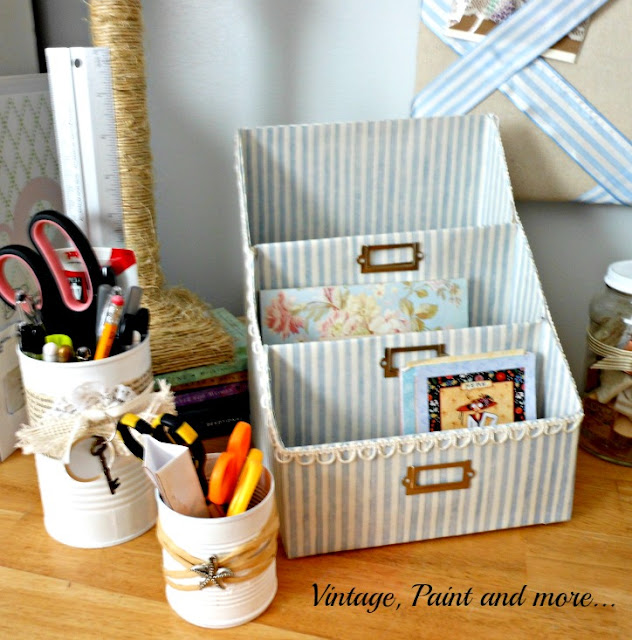 Vintage, Paint and more... paper organizer diy'd from empty cereal boxes and scrapbook paper