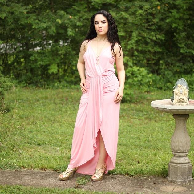 SHEIN Pink Drape Front Dress