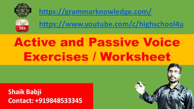 Active and Passive Voice Exercises / Worksheet