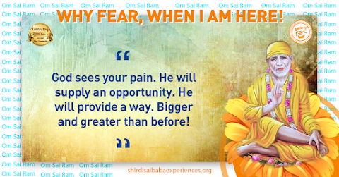 God Sees Pain - Sai Baba Blessing Hand Painting Image