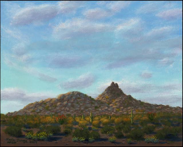 Pinnacle Peak, AZ, Arizona, Scottsdale, rocks, boulders, mountain, cactus, saguaro, desert, Sonoran desert, painting, art, landscape, ocotillo, palo verde, clouds, blue sky, cloud shadows