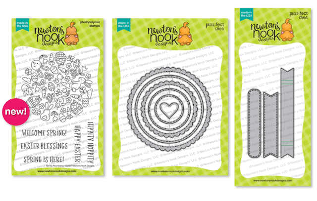 Spring Roundabout Stamp set, Circle Frames Die Set and Banner Trio Die Set by Newton's Nook Designs