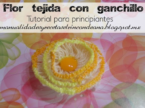 Flor sencilla tejida con crochet