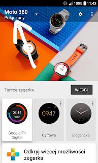 Status połączenia z zegarkiem